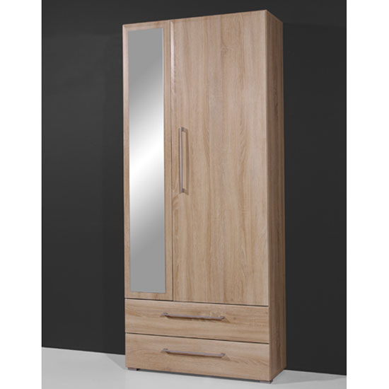 Prisma 2 Door Wardrobe In Sonoma Oak With 2 Drawer And Mirror