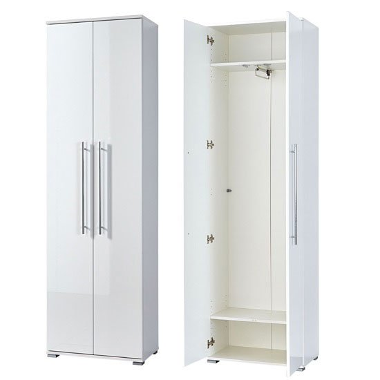 Inside hallway wardrobe in white wood and gloss fronts 3186 84