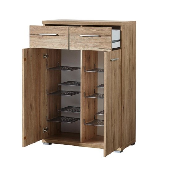 Elina Shoe Cabinet In Sanremo Oak With 2 Doors and 2 Drawers_2
