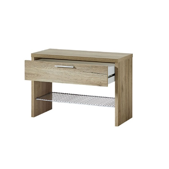 Elina Shoe Bench In Sanremo Oak With 1 Drawer and Metal Shelf_2