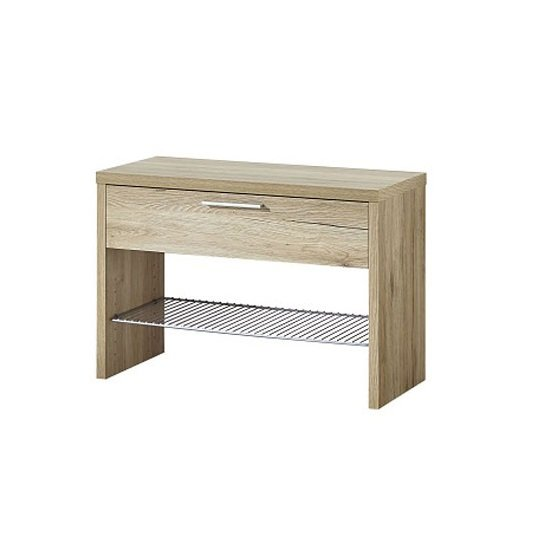 Read more about Elina shoe bench in sanremo oak with 1 drawer and metal shelf