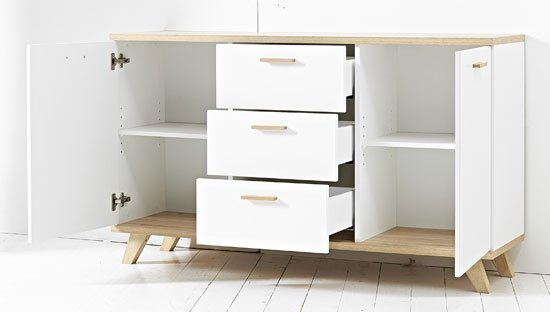 Ohio Sideboard In White And Solid Oak With 2 Doors And 3 Drawers
