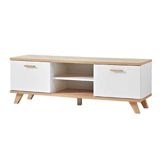 Ohio LCD TV Stand In White And Solid Oak With 2 Door And