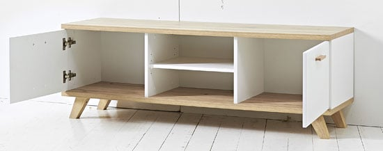 Ohio LCD TV Stand In White And Solid Oak With 2 Door And Shelves
