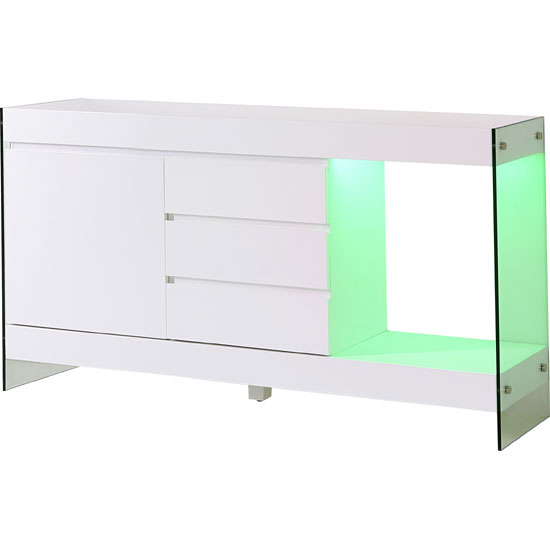 Caspa LED Sideboard In White Matt With 1 Door 3 Drawer And Shelf