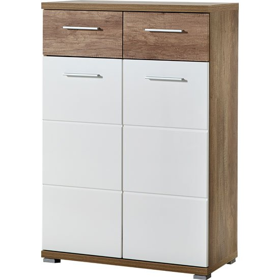 Jason Shoe Cabinet in White Gloss And Oak With 2 Door_1
