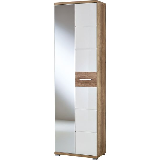 Jason Wardrobe In White High Gloss And Oak With Mirror