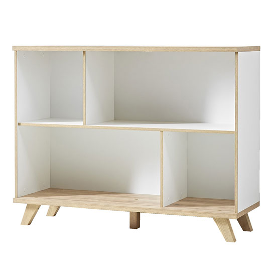 Ohio Shelving Unit In White And Solid Oak With 4 Shelf