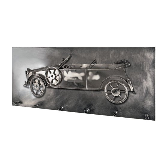 Big Oldtimer Wall Mounted Coat Rack In Black Nickel With 6 Hooks