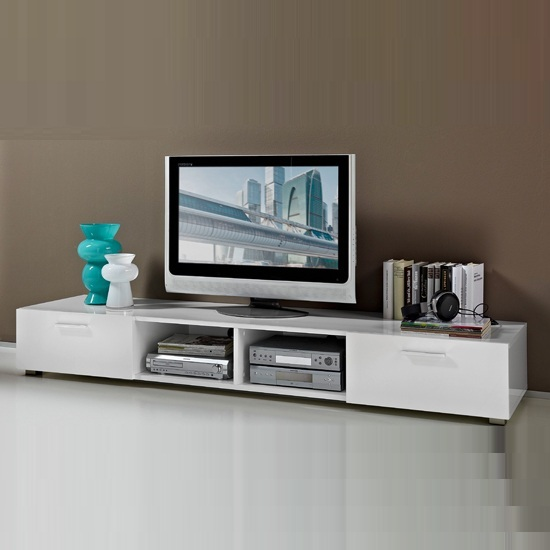 Genie LCD TV Stand Wide In White High Gloss