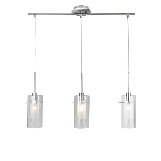 Duo 1 3 Light Chrome Finish With Clear Glass Ceiling Pendant