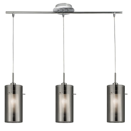 Duo 1 3 Light Chrome Finish With Smoked Glass Ceiling Pendant