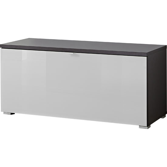 Alameda Shoe Bench In Anthracite And White Glass Front
