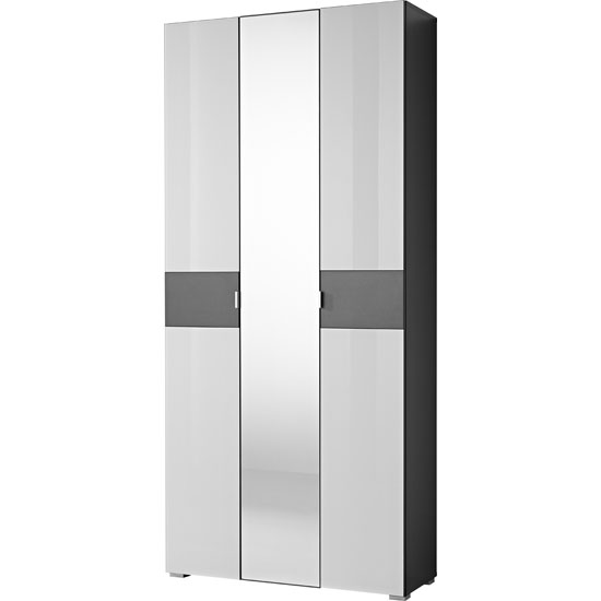 Alameda Wardrobe In Anthracite And White Glass With Mirror