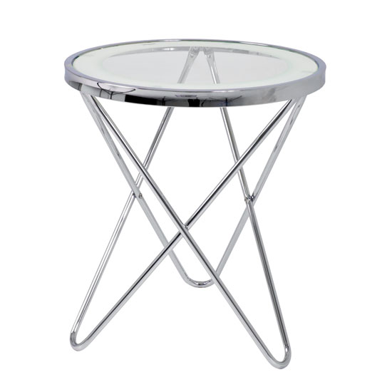 Theo 1 Lamp Table In Clear Glass Top And Chrome