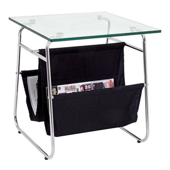 Harry Side Table In Clear Glass Top And Chrome