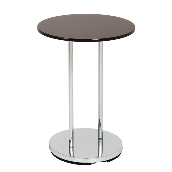 Lupus Round End Table In Black and Chrome