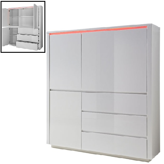 Photo Of Chique Storage Cabinet In White High Gloss With Led Light