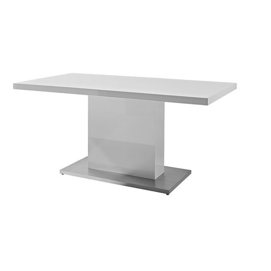 Chique Dining Table In White High Gloss With Shiny Metal Base