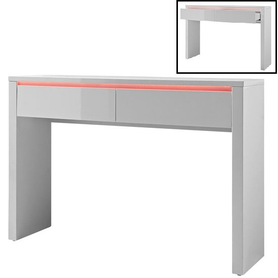 Chique Console Table In White High Gloss With 2 Drawers And Led