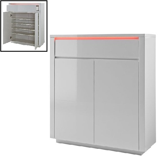 Chique Shoe Cabinet In White Gloss With 2 Door And LED Light