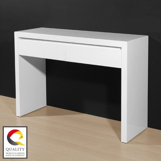Fino Console Table In High Gloss White With 2 Drawers 18376