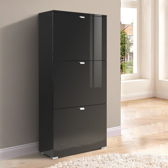 Glance Black 3 Drawer High Gloss Shoe Cabinet, 3420-83