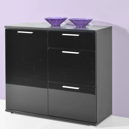 Almeria Chest of Drawer In Black High Gloss With 3 Drawers