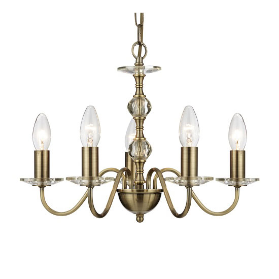 Monarch 5 Light Antique Brass Ceiling Light With Clear Glass