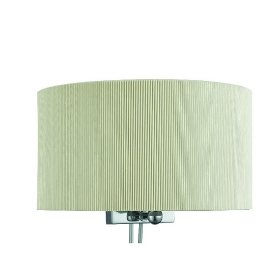 Drum Pleat Two Light Cream Wall Bracket With Curved Shade