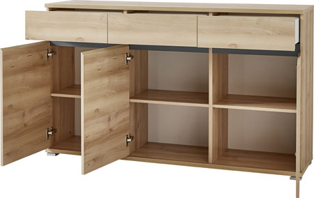 Lissabon Sideboard In Nobel Beech With 3 Drawers And 3 Doors