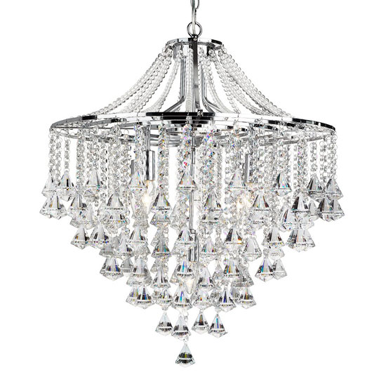 Image of Dorchester 5 Lamp Chrome Ceiling Light With Crystal Buttons