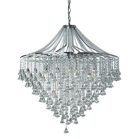 Image of Dorchester 7 Lamp Chrome Ceiling Light With Crystal Buttons