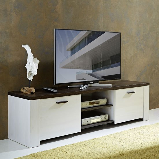 Hampton LCD TV Stand In Larch And Dark Havanna Oak