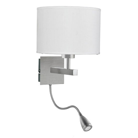 LED Dual Switched White Drum Shade Satin Silver Wall Light
