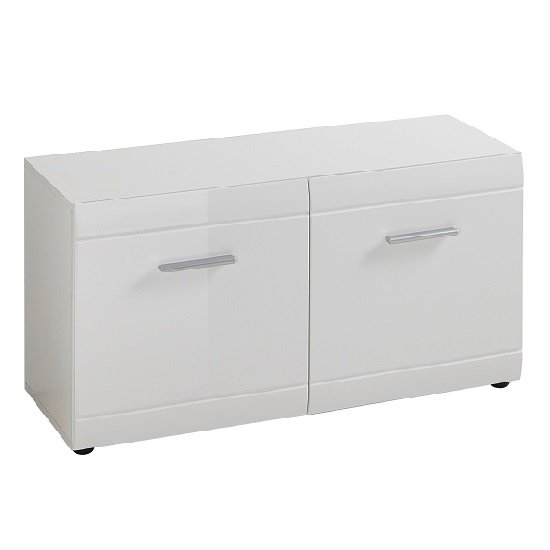 Adrian Shoe Bench In White High Gloss Fronts With 2 Doors_2