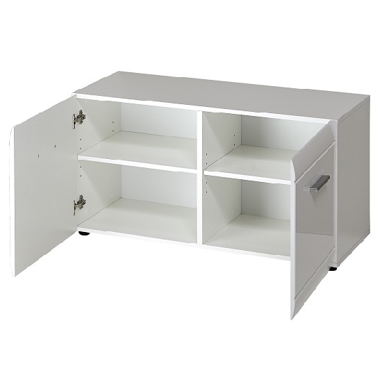 Adrian Shoe Bench In White High Gloss Fronts With 2 Doors_3