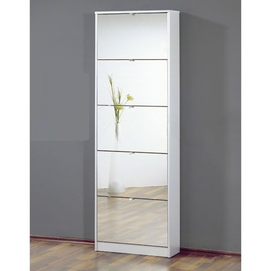 Relatively Tall Mirrored Shoe Storage Cabinet In White With Five PL57