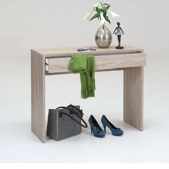 Photo of Checker console table in canadian oak with 1 drawer