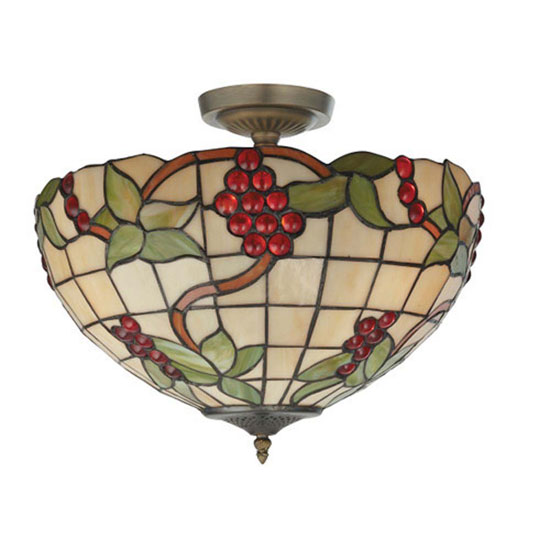 3 Light Tiffany Semi Flush Grape Design Ceiling Pendant
