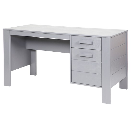 Wrexham Wooden Computer Desk In Solid Pine In Light Grey