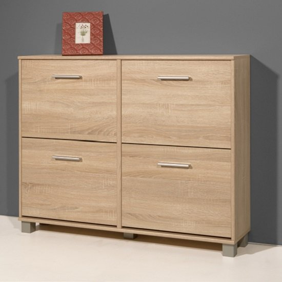 modern shoe storage cabinet in sonoma oak with 4 doors shoe storage