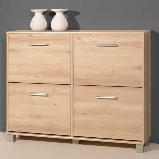Modern shoe cabinet in noble beech with 4 doors 26815 for Modern furniture deals