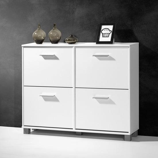 modern shoe storage cabinet in white with 4 doors 26810. Black Bedroom Furniture Sets. Home Design Ideas