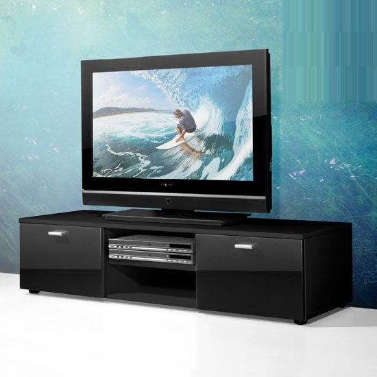 Modern Black Low Plasma Tv Stand With High Gloss Doors 2