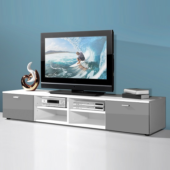 Contemporary Wide Lcd Tv Stand In White With 2 Grey Gloss