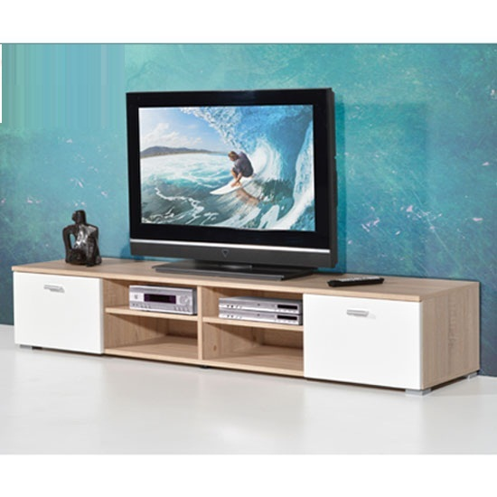 Contemporary LCD TV Stand For In Oak With Gloss Doors