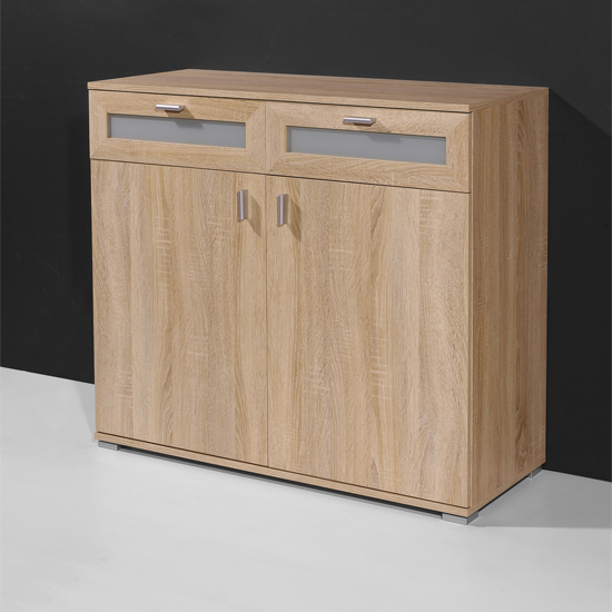 Canadian Oak Small Sideboard With 2 Doors And 2 Drawers