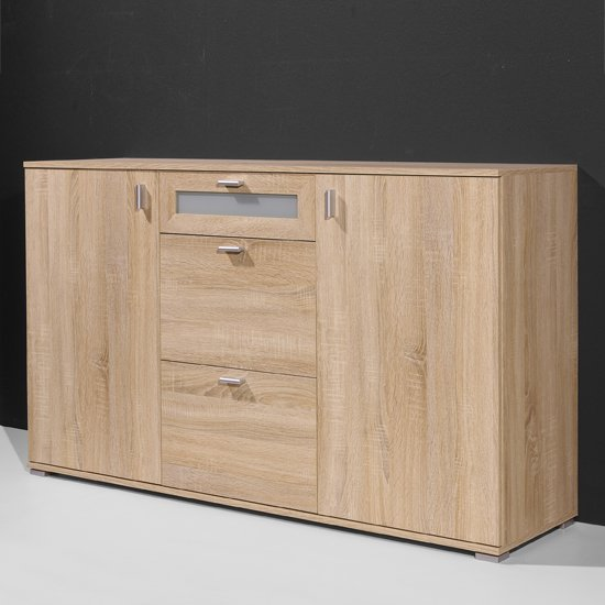modern sideboard in canadian oak with 2 doors and 3 drawers. Black Bedroom Furniture Sets. Home Design Ideas