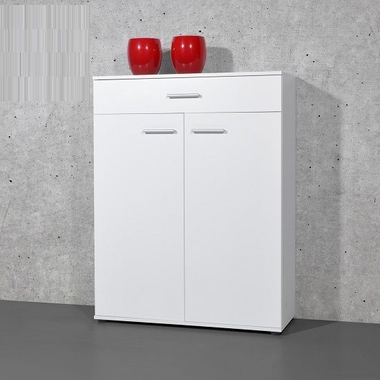 Stewart Shoe Storage Cabinet In White With 2 Doors_1